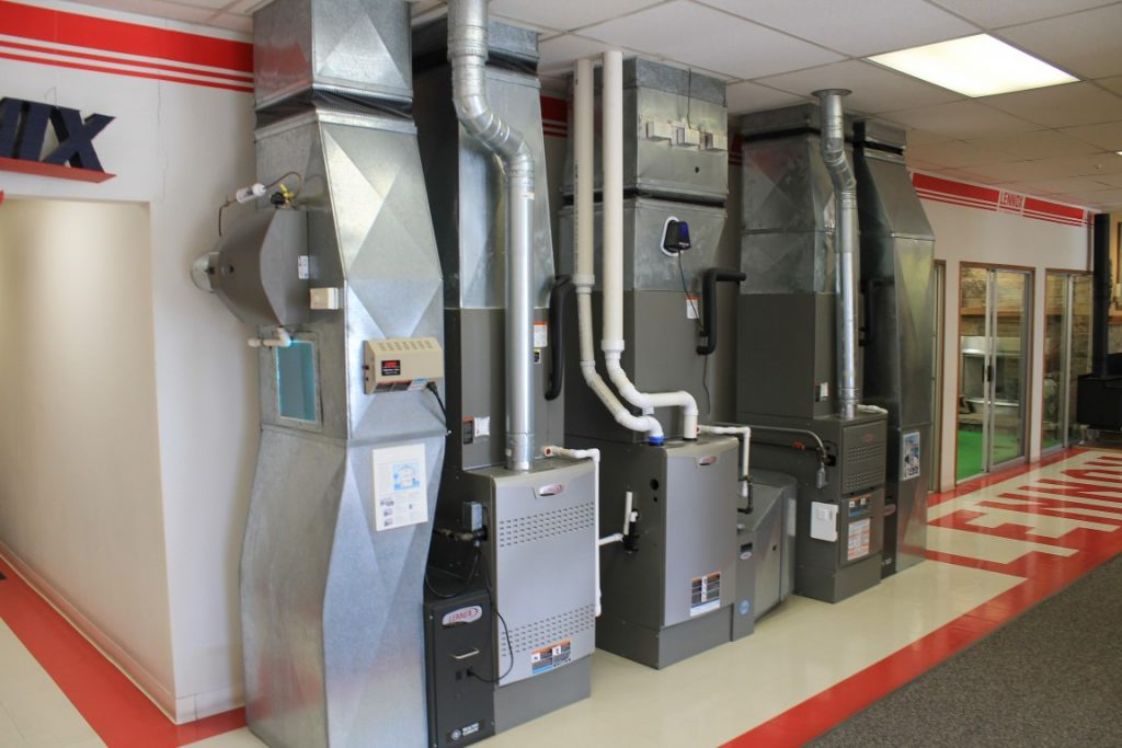 Showroom of Lennox furnaces and air conditioners at Fenix Heating & Cooling in Wichita, KS