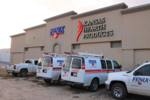A fleet of Fenix heating and cooling vehicles parked at their Wichita location