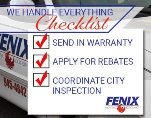 Checklist showing how Fenix handles every part of the installation including warranties, rebates and coordinating city inspections